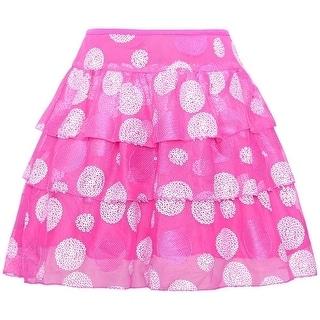 Lipstik Little Girls Fuchsia Sparkle Sequin Embellished Tiered Skirt 6