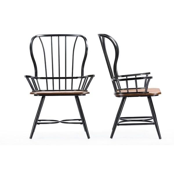 """Wood Steel Dining Room Chairs: Shop Longford """"Dark-Walnut"""" Wood & Black Metal Vintage"""