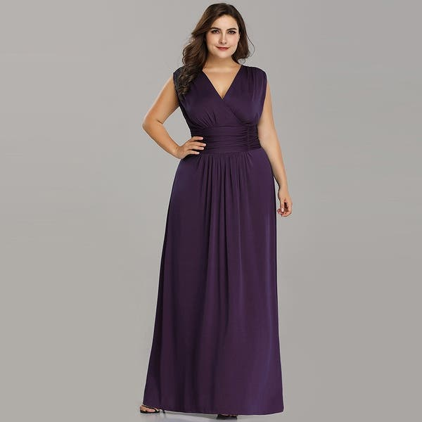 Shop Ever-Pretty Womens Plus Size Long Maxi Ruched Evening ...