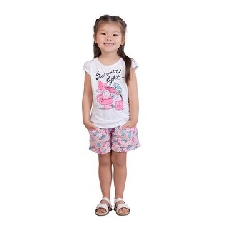 Pulla Bulla Toddler Girl Outfit Graphic Tee and Shorts 2-Piece Set
