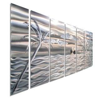 Statements2000 Silver Tropical Beach Scene Metal Wall Art Sculpture by Jon Allen - Castaway