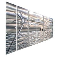 Statements2000 Silver Tropical Beach 3D Metal Wall Art Panels by Jon Allen - Castaway