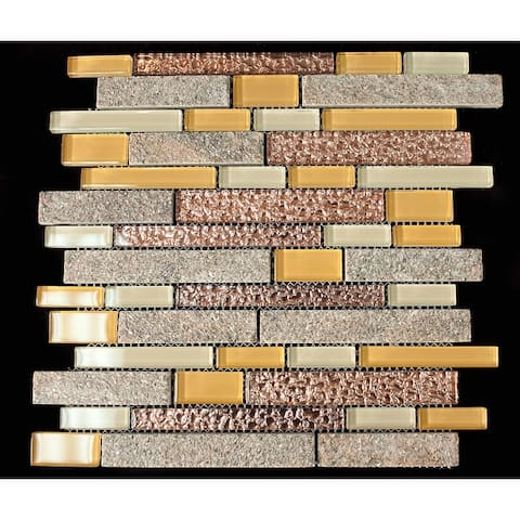 TileGen. Random Sized Mixed Material Tile in Yellow/Brown Wall Tile (10 sheets/9.5sqft.)