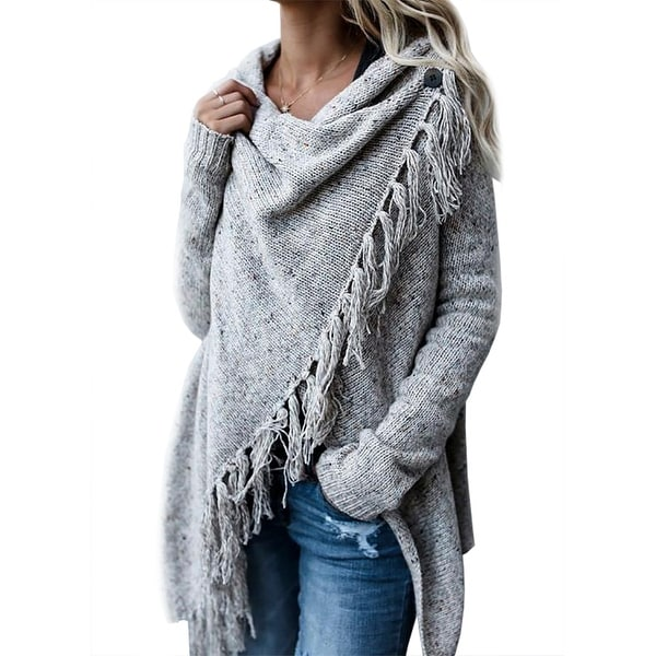 06f851c08 QZUnique Women's Tassel Hem Sweater Poncho Coat Cardigan Shawl Wrap  Outwear