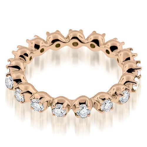 0.85 cttw. 14K Rose Gold Stylish Basket Round Cut Diamond Eternity Band Ring