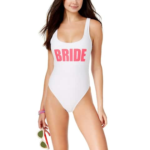 California Waves Womens Bride Graphic One-Piece Swimsuit X-Small White