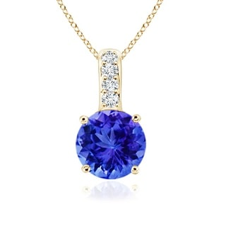 Angara Solitaire Round Tanzanite Pendant with Diamond Bail - Blue