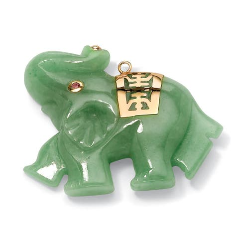 14K Yellow Gold Elephant Pendant (38mm) Genuine Pink Sapphire