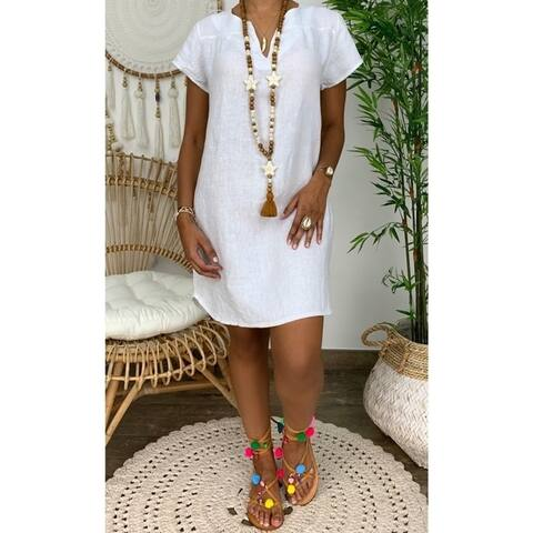 Loose Solid Color Short-Sleeved V-Neck Cotton And Linen Dress