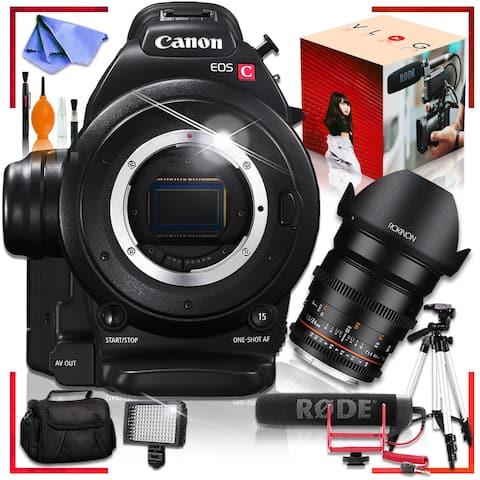 Canon C100 Cinema EOS Camera with Rokinon 24mm Lens, VideoMic Vlogging Bundle