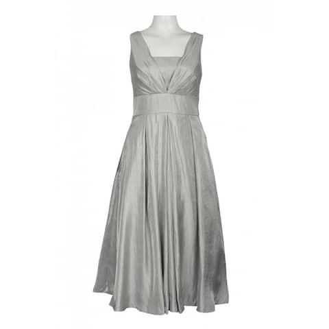 Adrianna Papell Pleated Iridescent Satin Dress, Silver, 6