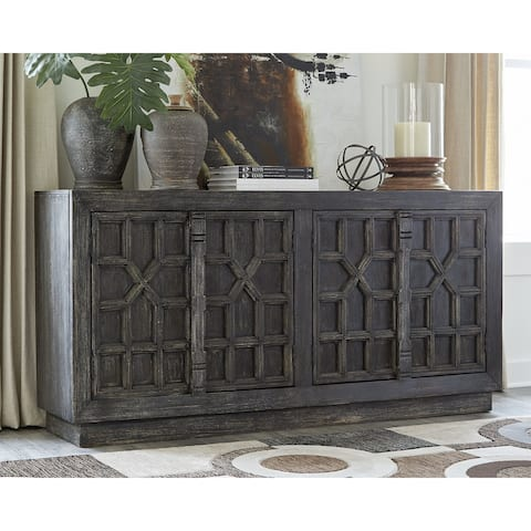 "Roseworth Distressed Black Accent Cabinet - 72""W x 17""D x 36""H"