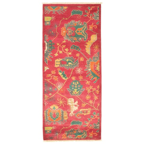 ECARPETGALLERY Hand-knotted Pak Finest Transitional Pink Wool Rug - 2'8 x 6'3
