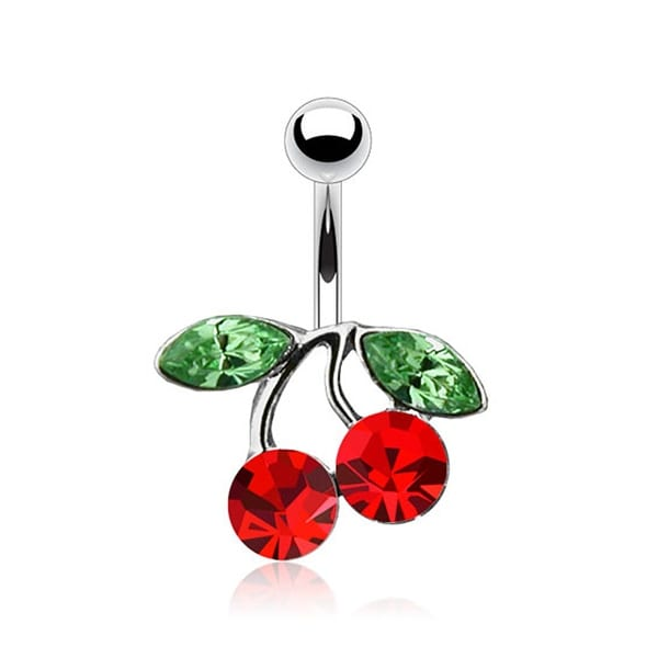 """316L Steel Navel Belly Button Ring with Rodium Plated Brass CZ Set Cherry - 14GA 3/8"""" Long"""