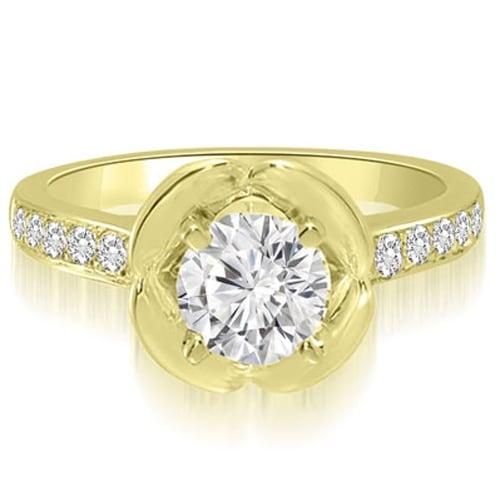1.10 cttw. 14K Yellow Gold Round Cut Diamond Engagement Ring