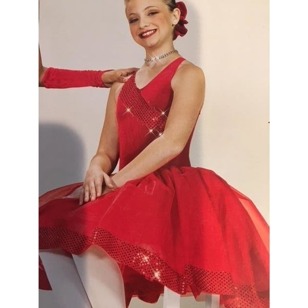 ce5f531691 Christmas Dance Costume lyrical ballet red long tutu bright as day