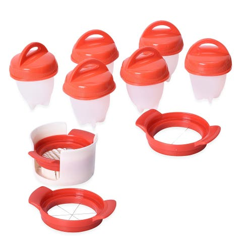 6pc Nonstick Silicone Egg Pods with 3 Slicers