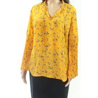 Lauren By Ralph Lauren Yellow Womens Size XL Pleated Sleeve  Blouse
