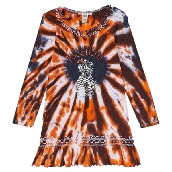 a5d812dac36 Shop Multicolor Halloween Long Sleeve BOO-tiful Ruffle Dress Little Girl  5/6 - 6x - Free Shipping On Orders Over $45 - Overstock - 19294564