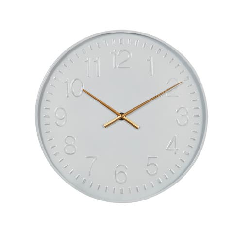 """Metal Minimalist Wall Clock With Numbers, AA Battery-Operated, White, 23.75"""" - 24 x 2 x 24Round"""