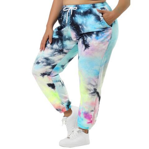 Women's Tie Dye Floral Print Drawstring Loose Lounge Pants - MultiColor