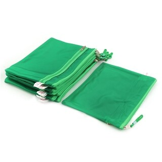 Office Zippered Water Resistance A5 Paper Document File Storage Bag Green 10pcs