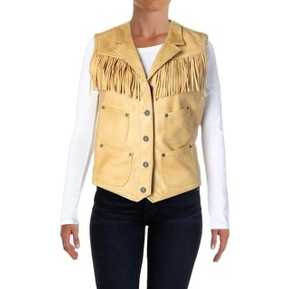 Denim & Supply Ralph Lauren Womens Casual Vest Leather Fringe - m
