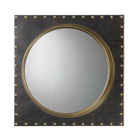 Round Porthole Mirror Rested in a Black Square Metal Frame - 25 Inch Mirror Antique Gold/Bronze - Antique Gold Bronze