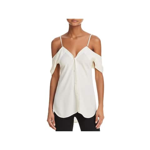 Theory Womens Blouse Silk Cold Shoulder