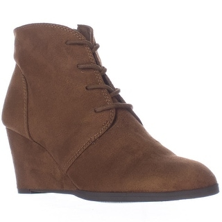 AR35 Baylie Lace Up Wedge Booties, Chestnut