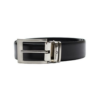Luciano Barbera Club Leather Adjustable Belt Black Stainless Steel Buckle