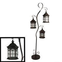 """60"""" Rustic Weathered Copper Brown Pillar Candle Holder Tree with 3 Decorative Lanterns"""
