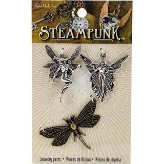 Solid Oak STEAM028 Fairies Steampunk Metal Accents - Pack of 3
