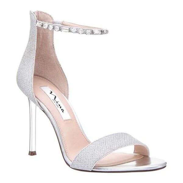 ce95d3182fd Nina Women  x27 s Deena Ankle Strap Stiletto Sandal Silver Metallic Fabric