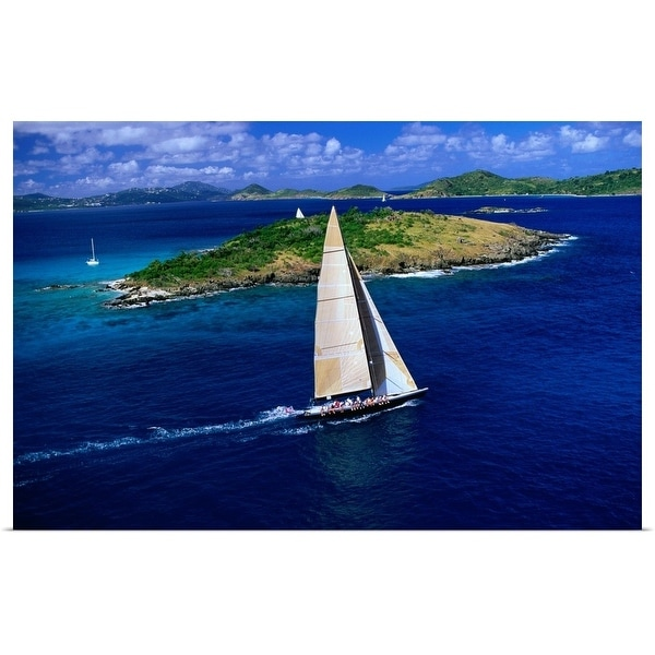 """""""The Americas Cup challenger, 'Stars and Stripes' practices off St John"""" Poster Print"""