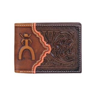HOOey Western Wallet Mens Bifold Punchy License Mahogany 1627161W1 - 4 x 3/4 x 3