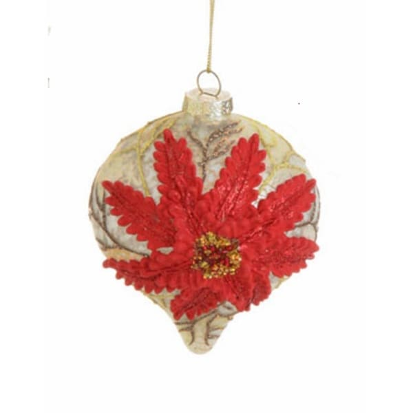 "3.5"" Speckled Antique Glittered Poinsettia Glass Onion Christmas Ornament"