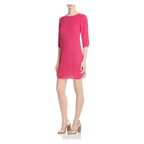 PARKER Womens Pink 3/4 Sleeve Mini Sheath Cocktail Dress Size 6