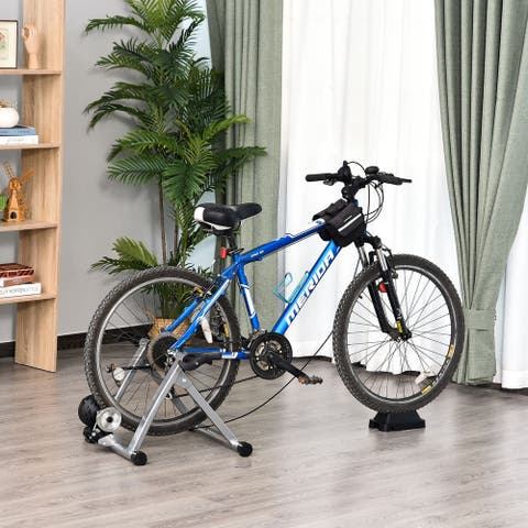 """Soozier Magnetic Bike Bicycle Trainer Stand Indoor Exerciser w/5 Levels of Adjustable Resistance Silver - 21.4""""x18.6""""x15.4"""""""