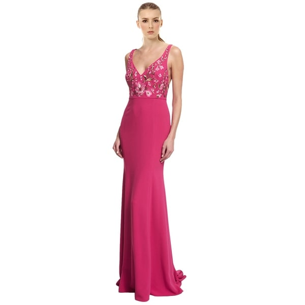 Shop Marchesa Notte Floral Embroidered Crepe Evening Gown Dress ...