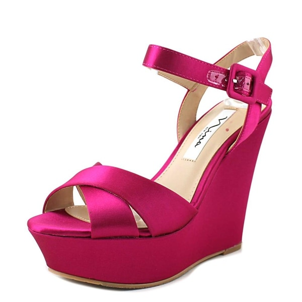 9eb7e0a18c Shop Nina Jinjer Women Open Toe Canvas Pink Wedge Sandal - Free ...