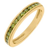 Prism Jewel 0.51CT Channel Set Round Cut Yellow Diamond Stackable Anniversary Band, 3.25mm Wide