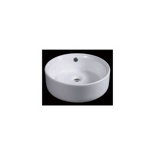 "Eago BA129 15-3/4"" Round Vessel Bathroom Sink - White"