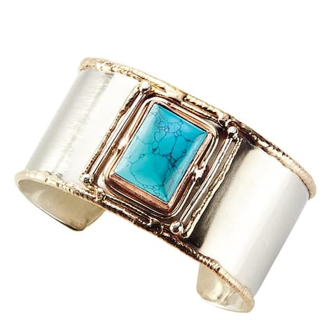 Women's Quadra Genuine Turquoise Gemstone German Silver Cuff Bracelet