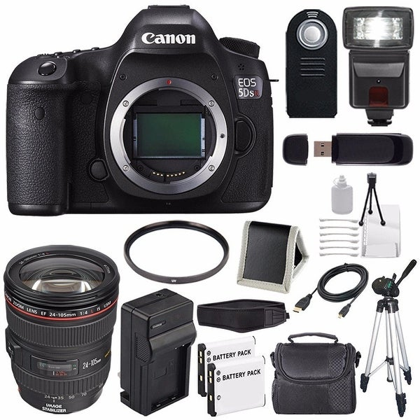 Canon EOS 5DS R DSLR Camera (International Model) 0582C002 + EF 24-105mm f/4L IS USM Lens + LP-E6 Battery Bundle