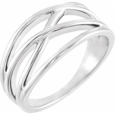 14K White Gold 10.2 mm Criss-Cross Ring (Size :7)
