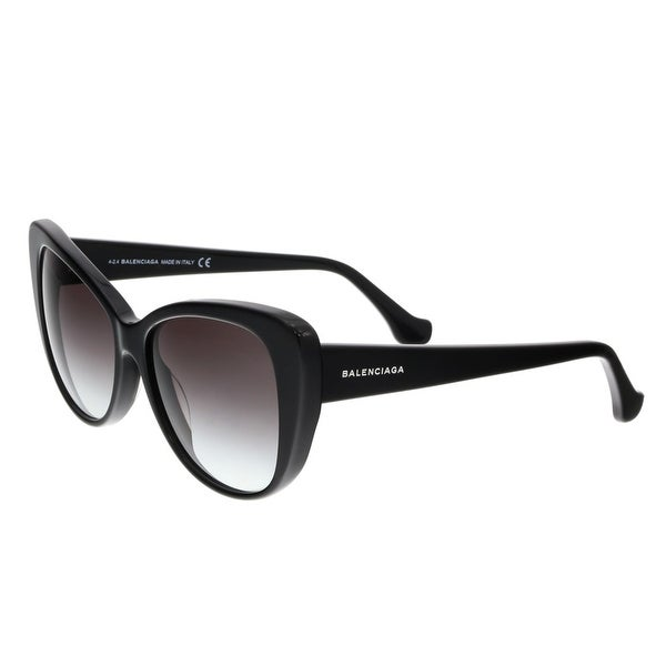 Balenciaga BA0016 01B Shiny Black Cat Eye Sunglasses - Shiny Black