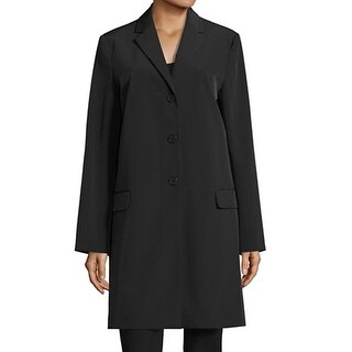 Theory NEW Black Womens Size Large L Button-Front Notch-Collar Jacket