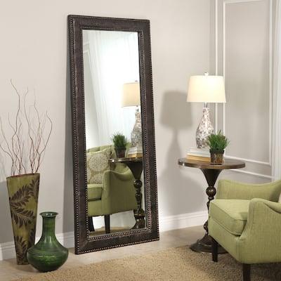 Abbyson Delano Transitional Brown Leather 70-Inch Floor Mirror