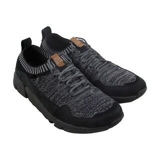 Clarks Triactive Knit Mens Black Textile Athletic Lace Up Training Shoes
